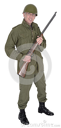 Military Army Soldier With Gun and Smile, Isolated