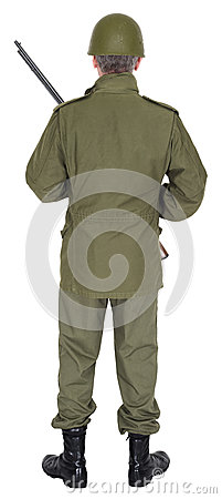 Military Army Soldier With Gun Rear View, Isolated