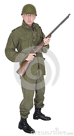 Military Army Soldier with Retro WWII Look Isolated