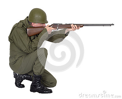 Military Army Soldier Shooting Rifle Gun, Isolated