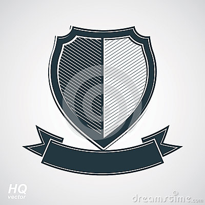 Free Military Award Icon. Vector Grayscale Defense Shield With Curvy Stock Image - 48069271