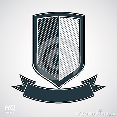 Free Military Award Icon. Vector Grayscale Defense Shield With Curvy Royalty Free Stock Photography - 48069317