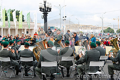 Military Band Tirol (Austria) performs in Moscow Editorial Stock Image
