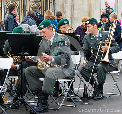 Military Band Tirol (Austria) performs in Moscow Editorial Photo