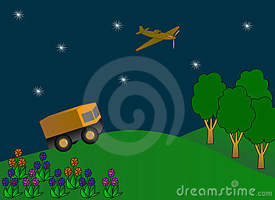Military car, airplane flying in a night sky