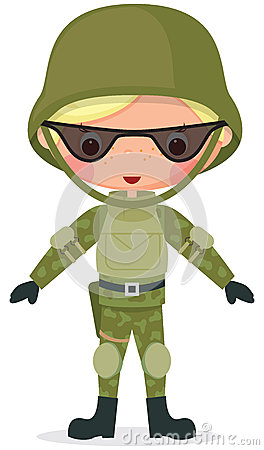 Military cartoon boy