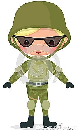 Military cartoon boy