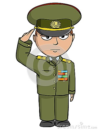 Military cartoon man salutes