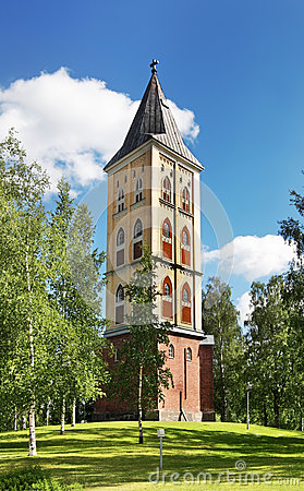 Free Military Cemetery And Belfry Of The Church Of Our Lady In Lappeenranta. South Karelia. Finland Royalty Free Stock Photos - 55252768