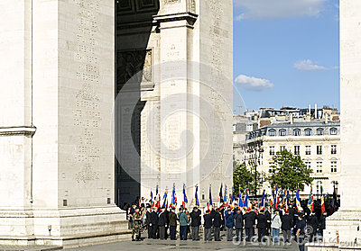 Military Ceremony in Arc de Triomphe Editorial Stock Image