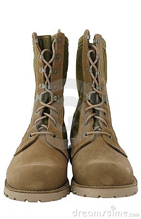 Military Desert Combat Boots Royalty Free Stock Photography
