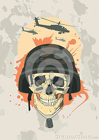 Military design with skull.