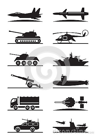Free Military Equipment Icon Set Royalty Free Stock Image - 41676716