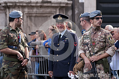 Military escort during the Italian Armed Forces Day