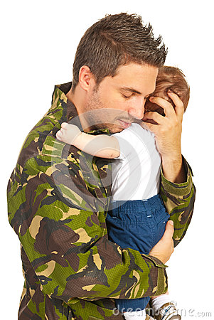Free Military Father Embracing His Baby Son Stock Photos - 31537053