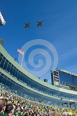 Military Flyover, Lambeau Field, Green Bay Packers Editorial Photo