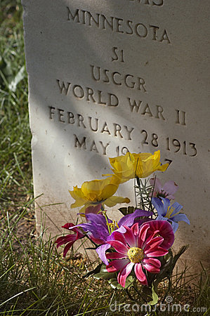 Military Gravestone and Flowers - Vertical