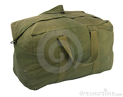 Military green canvas duffel bag