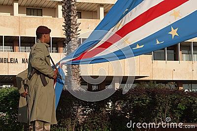 Military guard raises the National Flag Editorial Photo