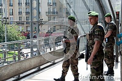 Military Guards in Gare de l Est in Paris. Editorial Stock Image
