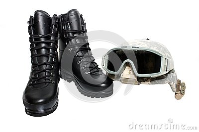 Military helmet and boots