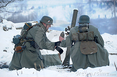 Military historical reconstruction of World War II Editorial Photography