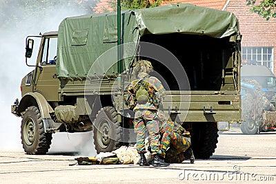 Military intervention, injured solder.