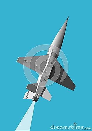 Military jet gaining height