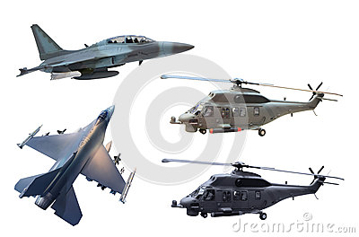 Military jet plane and helicopter
