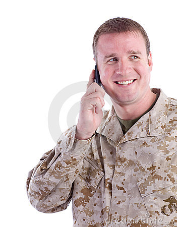 Military Man with Cell Phone