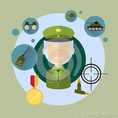 Military Man Commander Icon Vector Illustration