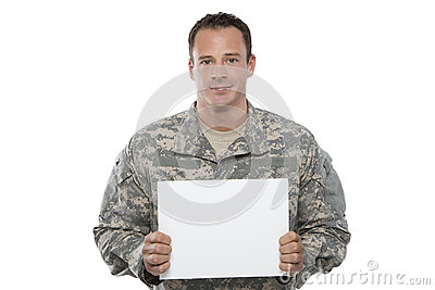 Military Man holding blank sign