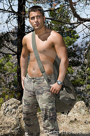 Military man relaxing without shirt