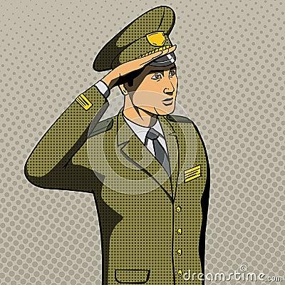 Military Man Salutes Pop Art Style Vector Stock Vector