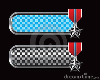 Military medal on blue and black checkered tabs