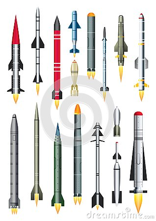 Free Military Missile Rocket Isolated On White. Vector Illustration. Stock Images - 130355174