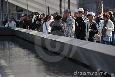 Military at the National September 11 Memorial Editorial Stock Image