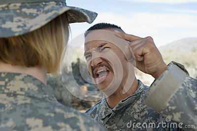 Military Officer Shouting At Female Soldier