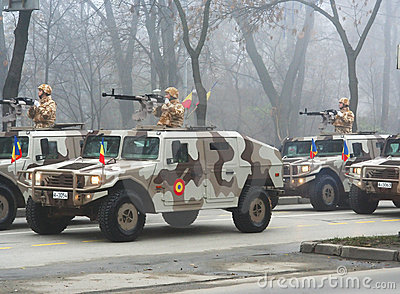 Military parade - hummer squad Editorial Stock Image