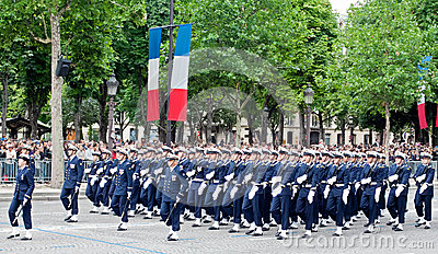 Military parade in the Republic Day (Bastille Day) Editorial Stock Image