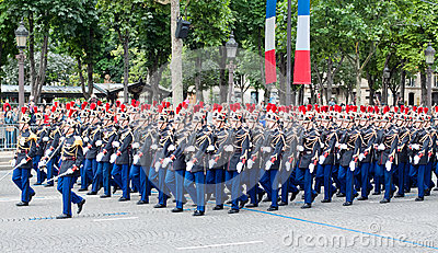 Military parade in Republic Day (Bastille Day) Editorial Stock Photo