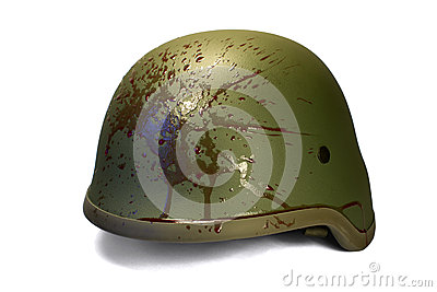 Military Or Police Helmet With Blood Splattered. Royalty Free ...