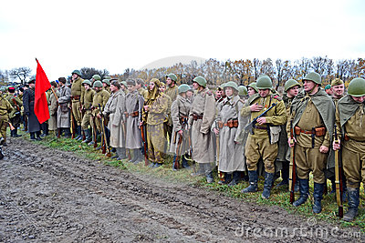 Military reconstruction devoted to free Kiev. Editorial Photo