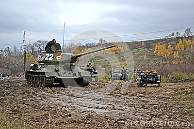 Military reconstruction devoted to free Kiev. Editorial Image