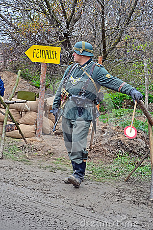 Military reconstruction devoted to free Kiev. Editorial Stock Image