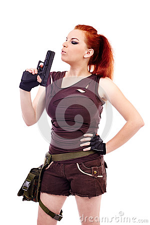 Free Military Redhead Beautiful Young Lady Stock Photo - 36665730