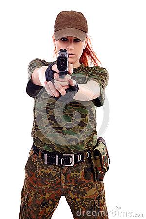 Free Military Redhead Beautiful Young Lady Royalty Free Stock Photos - 36665868