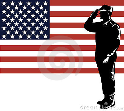 Military serviceman and flag