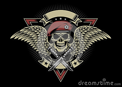 Military Skull With Wings And Daggers Stock Vector - Image ...