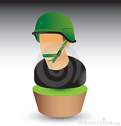 Military soldier on green patch